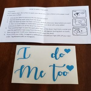 """Wedding """"I Do/Me Too"""" Cute Shoe Decals - His/Hers"""
